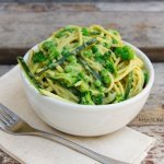spaghetti noodles with avocado miso tahini sauce aka awesome sauce or vegan alfredo
