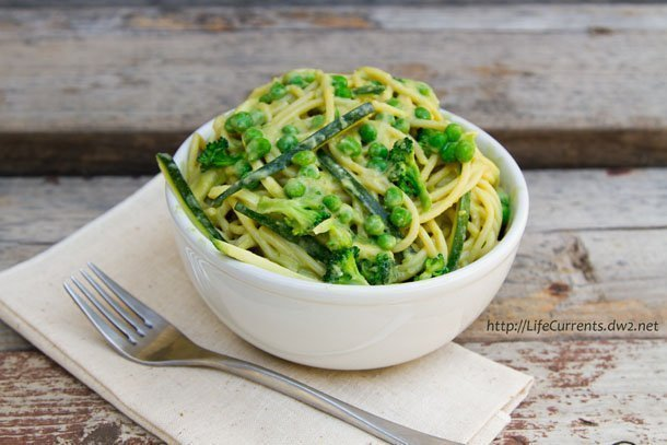 Avocado-Miso-Tahini Pasta: spaghetti noodles with avocado miso tahini sauce aka awesome sauce or vegan alfredo