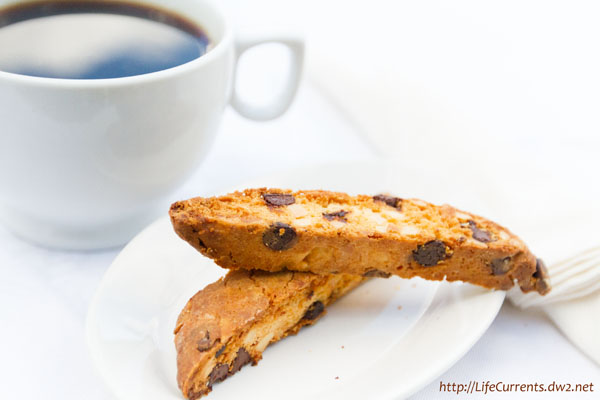 Almond Biscotti with Chocolate Chips and afternoon coffee, yum!