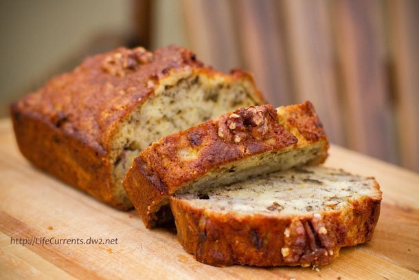 Garlic, Tomato, and Cheese Twisted Yeast Bread featured recipe for Bourbon Banana Walnut Bread