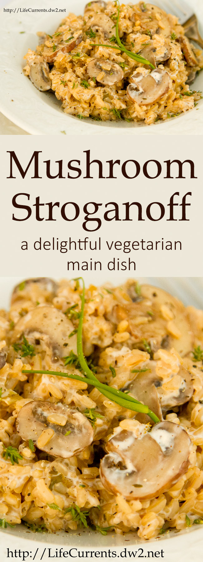 Mushroom Stroganoff long pin for Pinterest with two images and a title