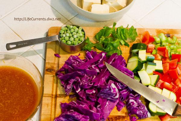 chopped veggies, tofu, and Orange Peel Sauce