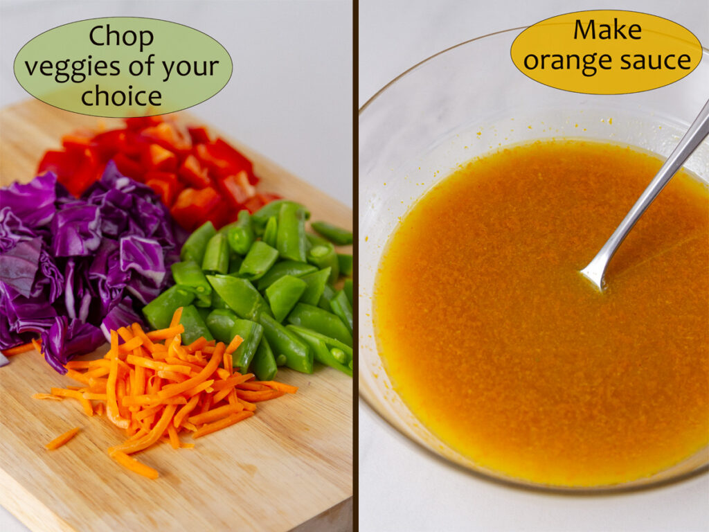 Orange sauce in a bowl on the right, chopped veggies on a cutting board on left.