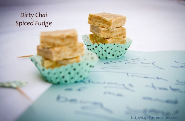 "Dirty Chai Spiced Fudge ... Not too sweet. Rich. Warm and spicy. And, what makes it ""dirty"" chai? The addition of espresso powder. For me, it's the perfect addition to chai. #chai #fudge #coffee"