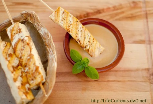 tofu satay with peanut dipping sauce in White Bean & Sweet Potato Taco Filling featuring Goya