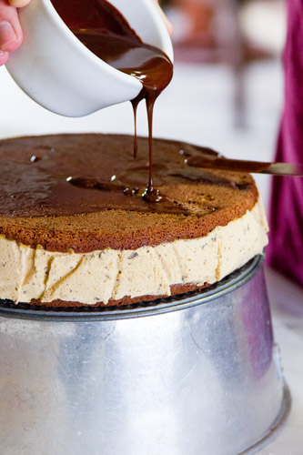 For the Glaze: first application of the glaze, also called the crumb coat For the glaze: removing the plastic wrap Frozen Mocha Cake with Chocolate Ganache Glaze or Birthday Dessert 2013! https://lifecurrentsblog.com