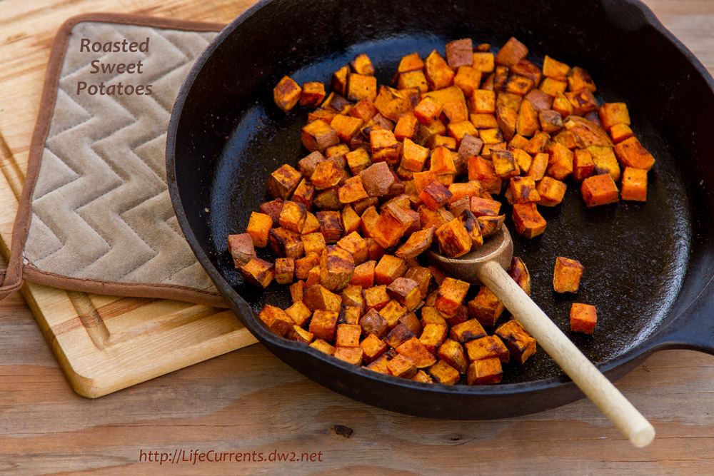 Roasted Sweet Potatoes in a pan fresh from the oven ready to serve