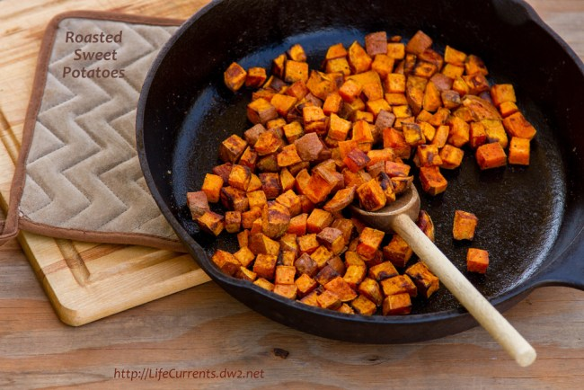 Easy Roasted Green Beans with Mushrooms and Onions featured recipe for Roasted Sweet Potatoes