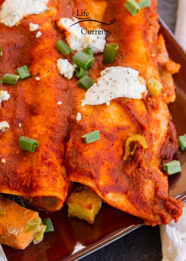 Black Bean Sweet Potato Enchiladas easy to veganize too