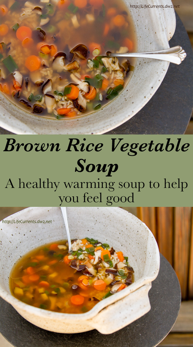Brown Rice Vegetable Soup in two images long pin for Pinterest