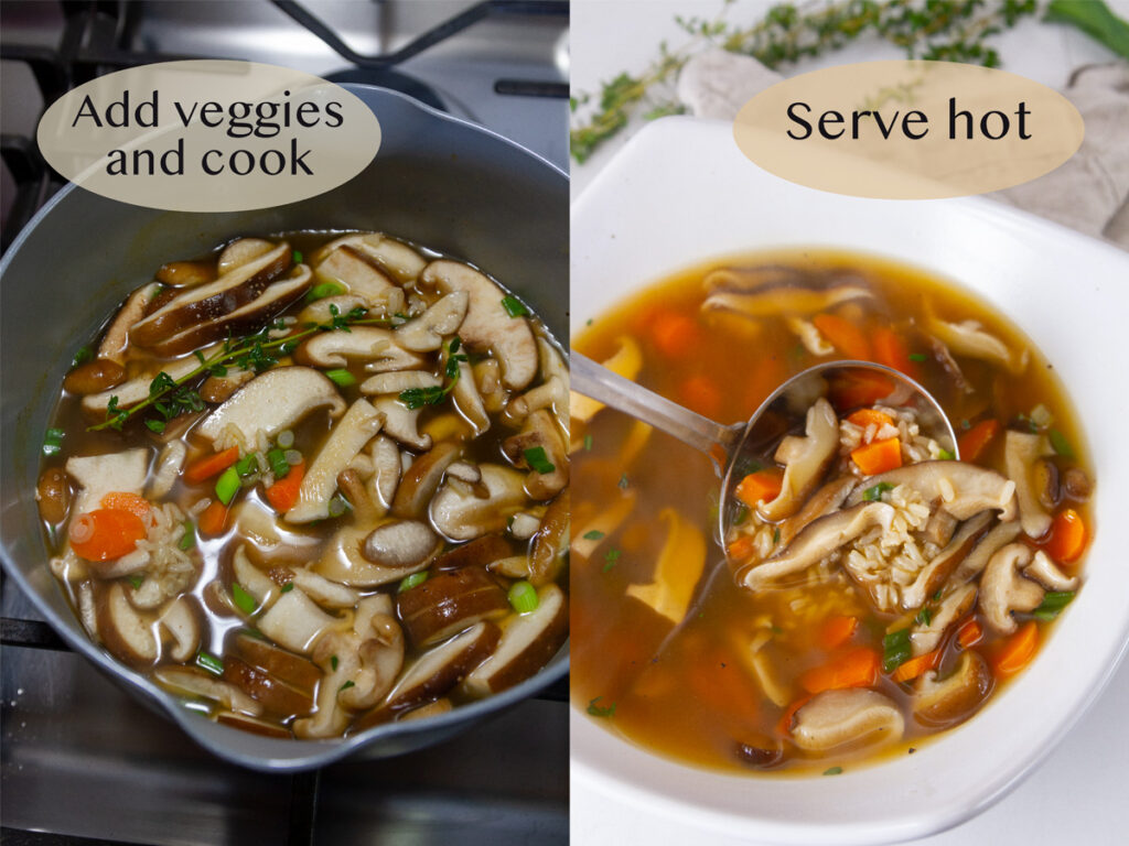 how to make this veggie soup: veggies added to pot on left, and serving soup on right