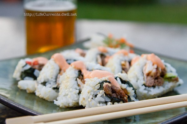 The Dan Roll: Teriyaki Steak Sushi Roll | Life Currents California Roll Sandwich https://lifecurrentsblog.com