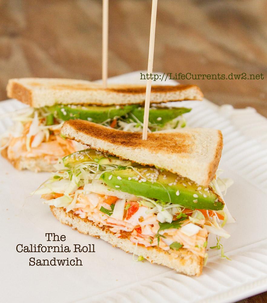 California Roll Sandwich https://lifecurrentsblog.com #sushi #sandwich #fusion
