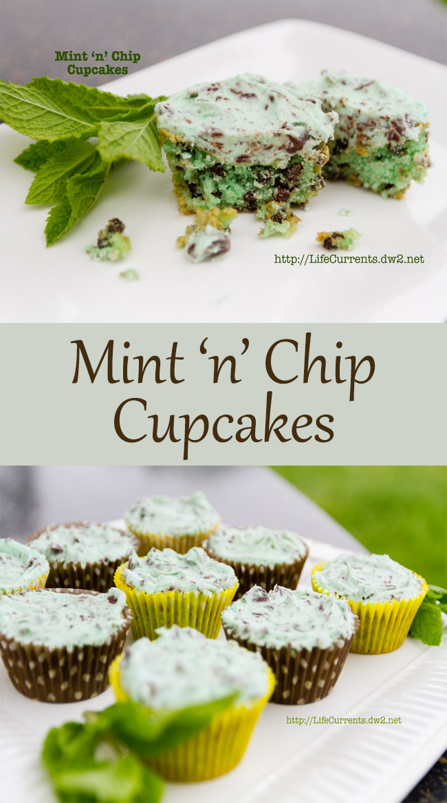 Mint 'n' Chip Cupcakes with Mint 'n' Chip Frosting #cupcake #mint #chocolate
