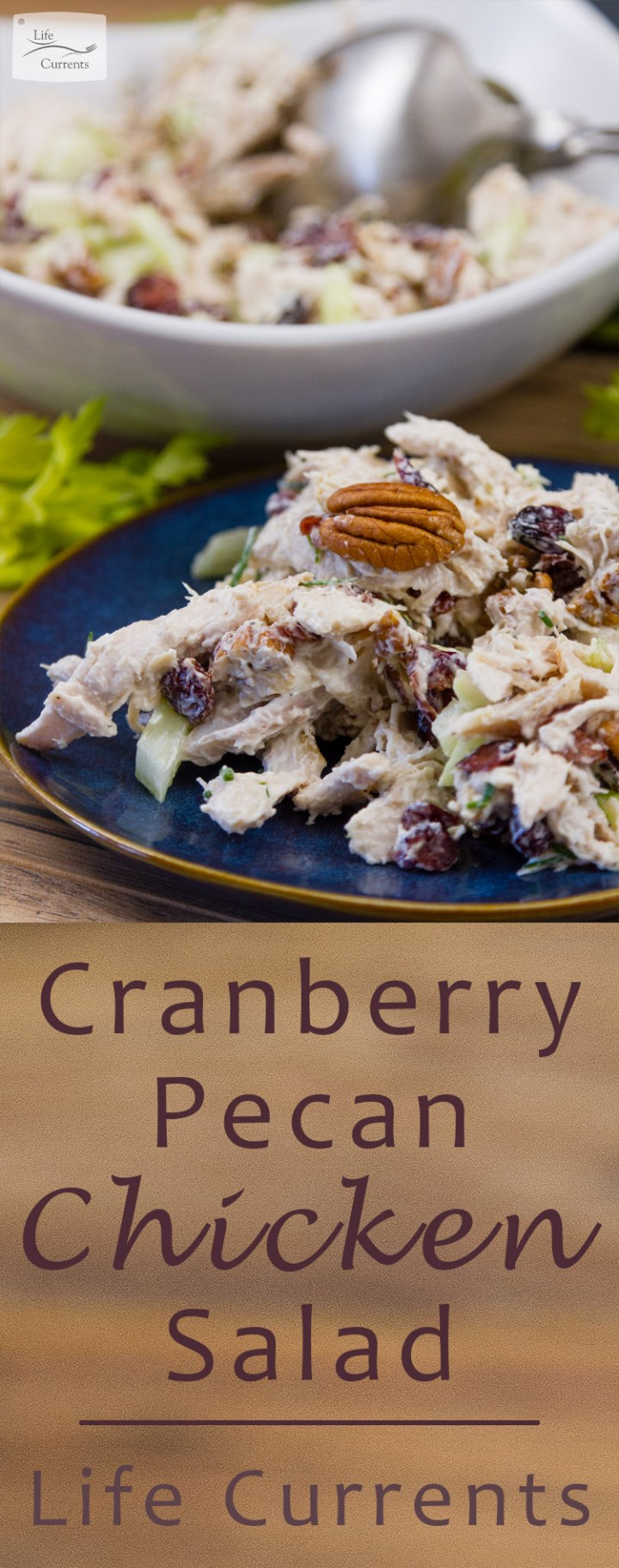 Cranberry Pecan Chicken Salad on a blue plate with the serving bowl in the background. Plus the title