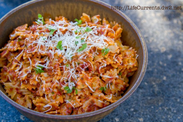 "Sun Dried Tomato Pesto Pasta made with Homemade Roasted ""Sun"" Dried Tomatoes 
