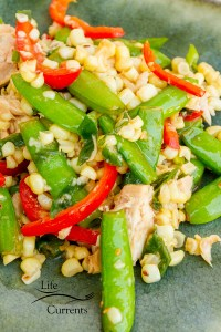 Fresh Snap Pea and Corn Sauté with Island Trollers Tuna