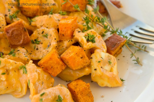 Cheese Tortellini in Pumpkin Gorgonzola Sauce with Roasted Sweet Potatoes | Life Currents https://lifecurrentsblog.com