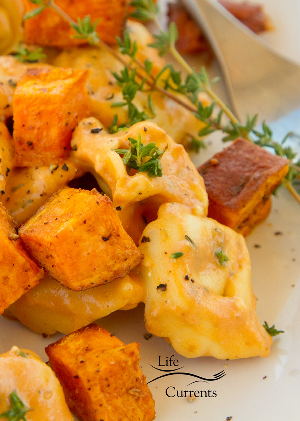 Cheese Tortellini in Pumpkin Gorgonzola Sauce with Roasted Sweet Potatoes
