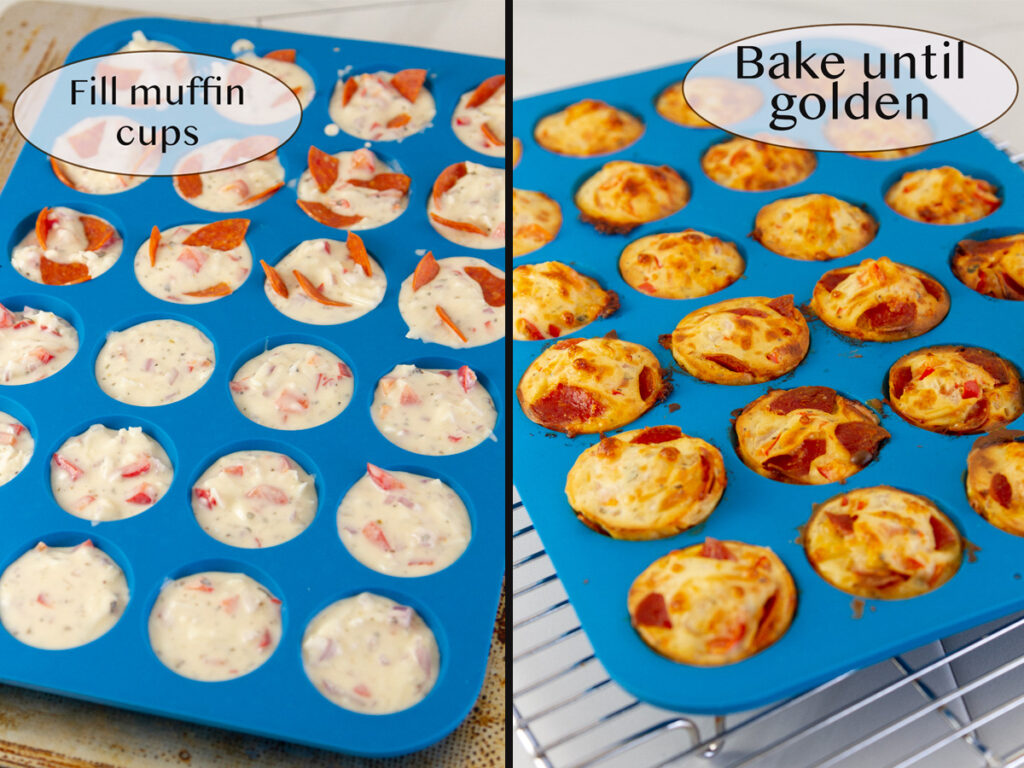 filling the muffn cups and baking them.