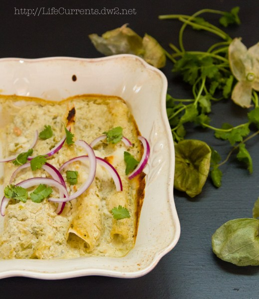 Island Trollers Tuna Enchiladas with tomatillos and green chile cream sauce  |  Life Currents   https://lifecurrentsblog.com  It's time for another Island Trollers recipe. This is one that I've been thinking about since I started writing recipes for them. I thought a nice creamy sauce with the heat of a habanero tuna would be so awesome. And, boy, did this recipe deliver! Tasty, creamy, pretty easy too. #Mexican #Tuna #enchiladas