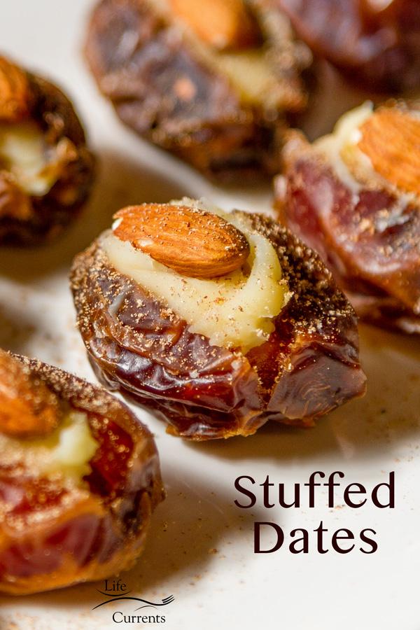 Medjool dates stuffed with Mascarpone, an almond, and garnished with freshly ground nutmeg.