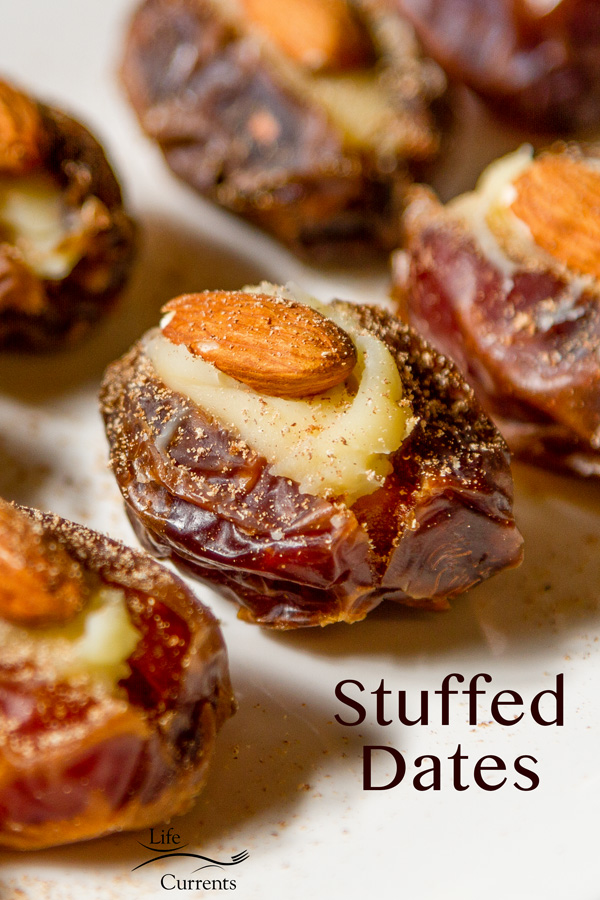 Medjool dates stuffed with Mascarpone, an almond, and garnished with freshly ground nutmeg.