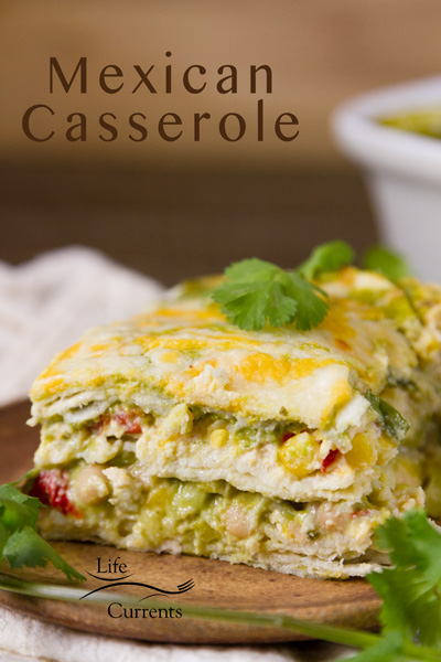 Mexican Casserole Vegetarian Cheesy Mexican-style Lasagna Casserole with corn tortillas, poblanos, and bell pepper
