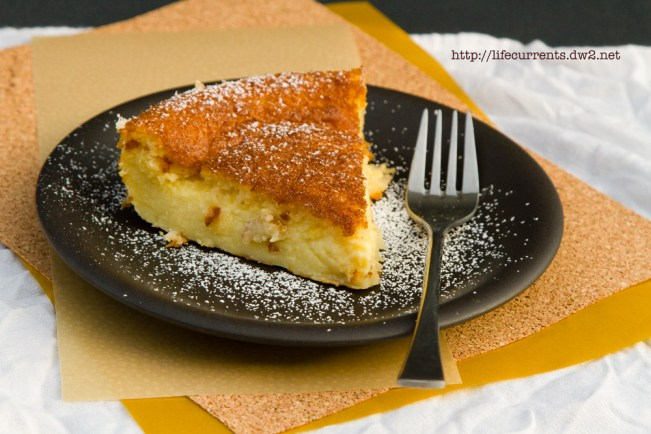 Mother's Day Desserts -- Custard Tart or 1-2-3 Tart Magically separates into a crust layer, custard, and cake. It's easy and really yummy! Life Currents https://lifecurrentsblog.com/ #dessert #custard #cake