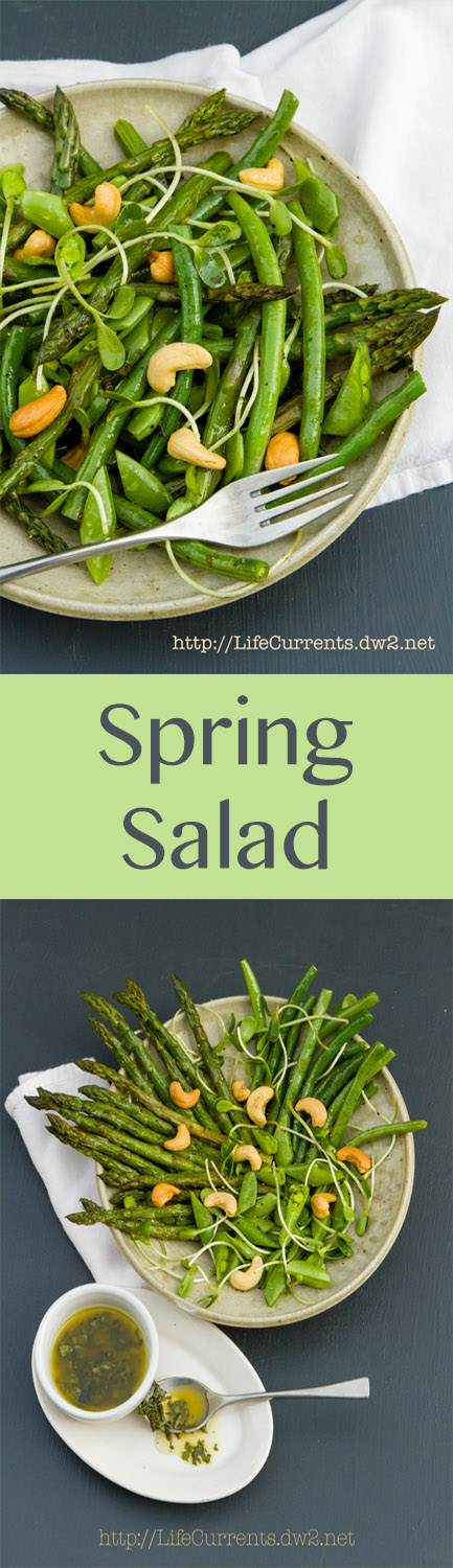 Spring Salad is all the spring veggies cooked to perfection, and tossed in a lovely light White Balsamic Basil Vinaigrette. #spring #fresh #salad #healthy