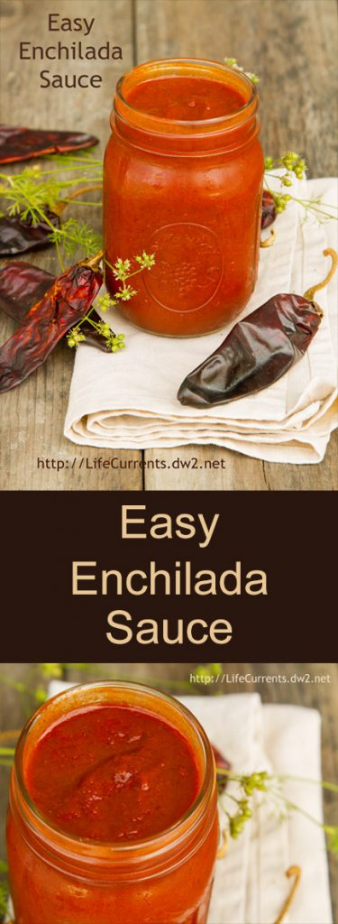 two images of enchilada sauce in a jar, collage for Pinterest, title in middle.