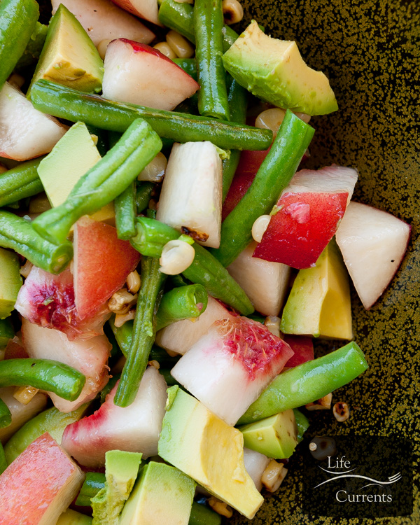The Summer Salad - fresh peaches, grilled corn, sauteed green beans, and ripe avocado, all tossed together with a little salt. Summer perfection!