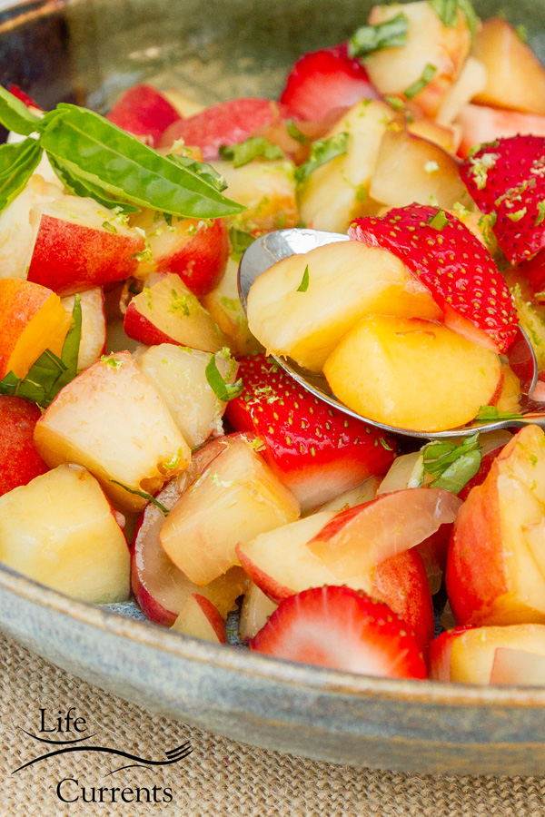 Peach, Nectarine, and Strawberry Fruit Salad with Lime Honey Basil Syrup Recipe like summer itself