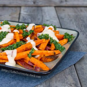 Sweet Potato Fries with Mac & Cheese Sauce and Chimichurri | Life Currents https://lifecurrentsblog.com