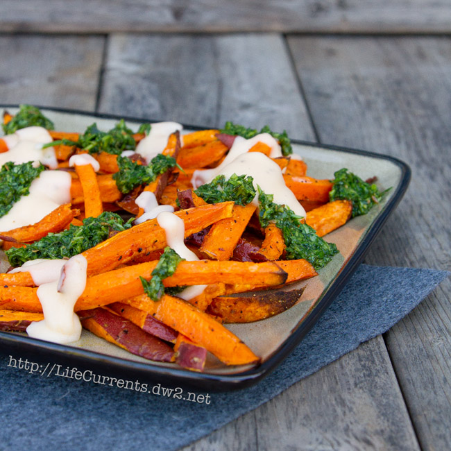 Sweet Potato Fries with Mac & Cheese Sauce and Chimichurri | Life Currents