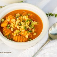 Red Pepper Corn Soup with Gnocchi