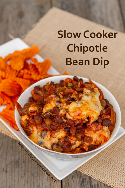 Slow Cooker Chipotle Bean Dip for Tailgating Snack Month on Life Currents https://lifecurrentsblog.com