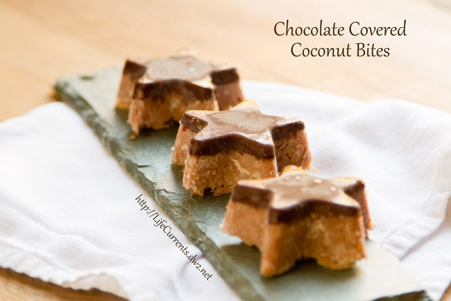 chocolate covered coconut bites stars