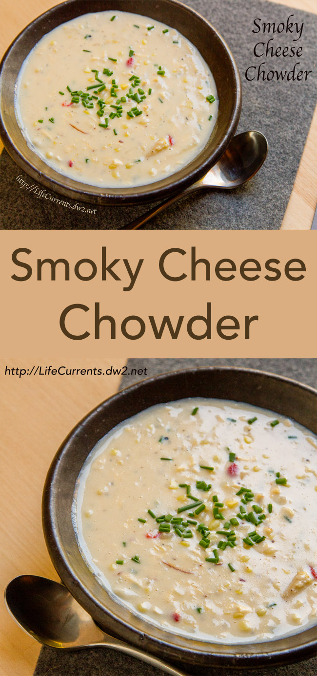 Smoky Cheese Chowder, a lovely hearty winter soup, filled with smoky cheese, corn, and potatoes