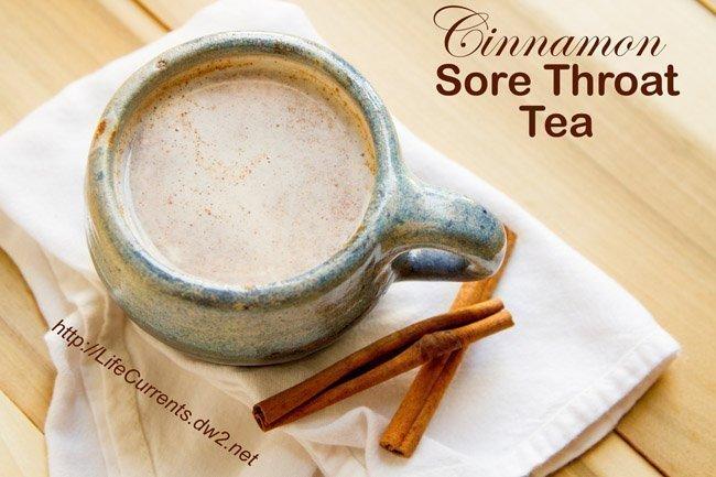 Cinnamon Sore Throat Tea - tea for sore throat - sore throat tea - best tea for sore throat in a pretty blue mug