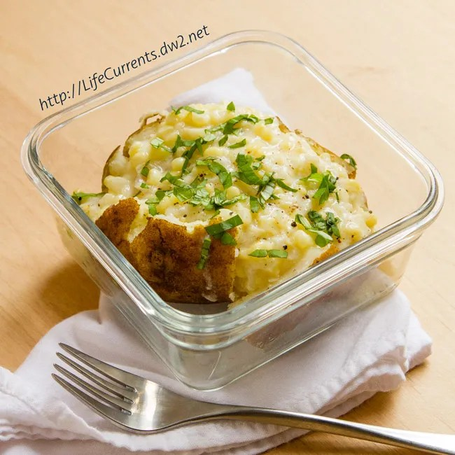 Creamed Corn Stuffed Baked Potatoes by Life Currents  https://lifecurrentsblog.com