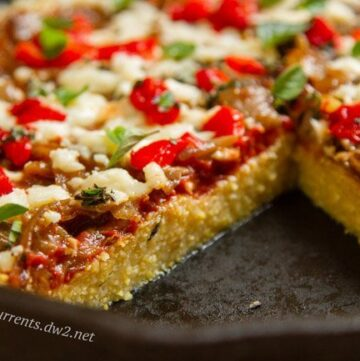 Polenta Pizza by Life Currents, a fun new twist on deep dish pizza!
