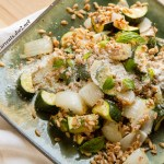 Farro with Grilled Zucchini Ricotta Salata and Basil is a great summer side dish with lots of flavor and veggie goodnessby Life Currents https://lifecurrentsblog.com