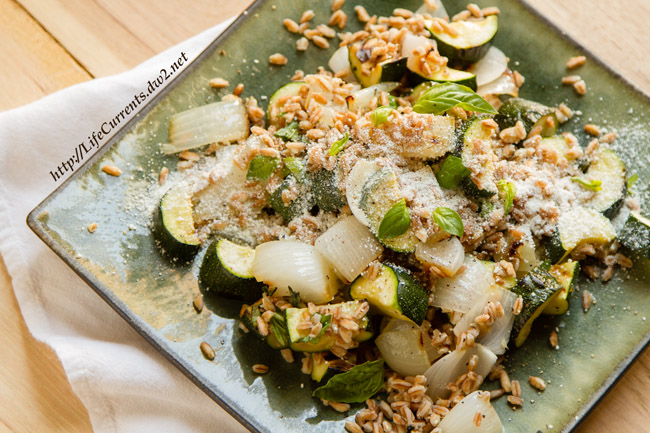 Farro with Grilled Zucchini Ricotta Salata and Basil is a great summer side dish with lots of flavor and veggie goodness