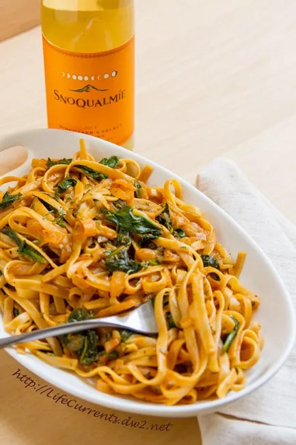 Pasta in White Wine Paprika Sauce is a great romantic dinner for you and your sweetie! And, finish the meal with a lovely glass of Snoqualamie Wine! https://lifecurrentsblog.com/