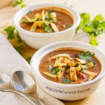 Slow Cooker Creamy Tortilla Soup is a great easy meal becaus eit's made in the crock pot. And, you can feel good about serving this vegan dish. https://lifecurrentsblog.com