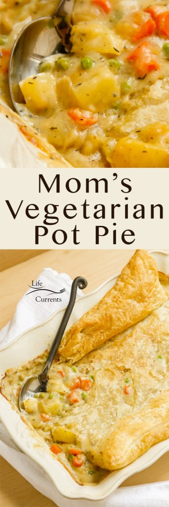 Mom's Vegetarian Pot Pie long pin for pinterest with two images and logo watermarked