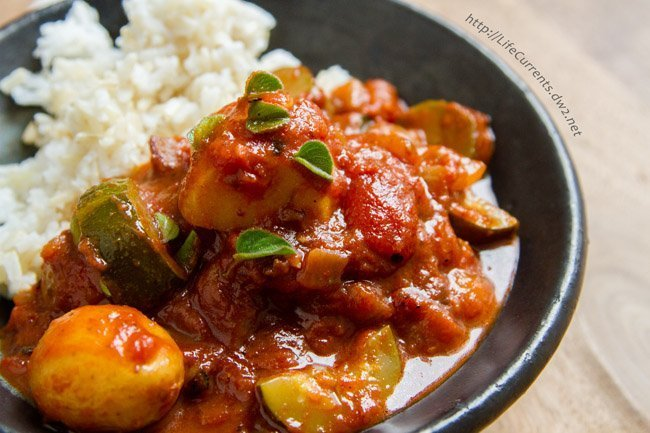 Provencal Veggie Stew is full of flavor. It's perfect comfort food. It's rich and thick, with just the right balance of savory flavors with a little hint of sweetness. It's like a warm hug on a cold day! Life Currents https://lifecurrentsblog.com