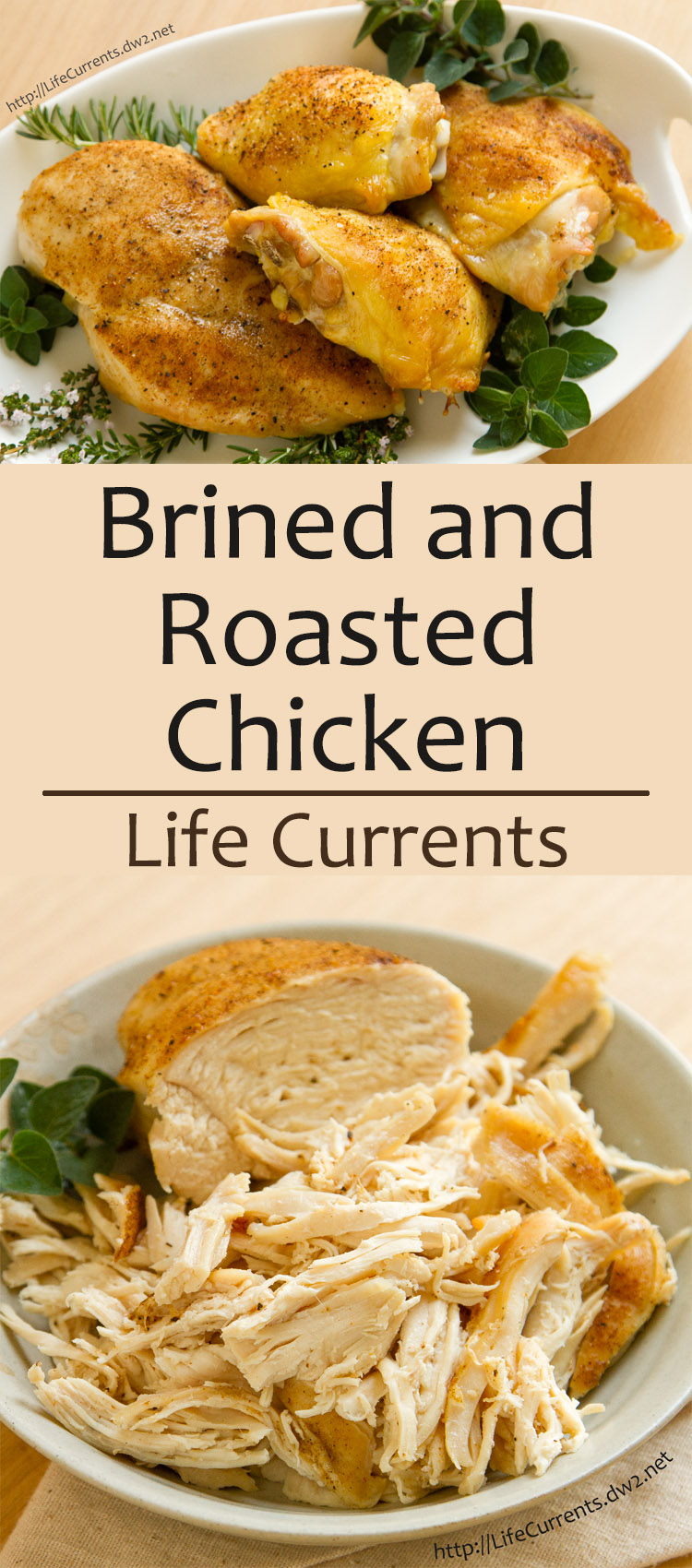 long pin for pinterest of Brined and Roasted Chicken from Life Currents is a simple and delicious way to cook chicken. Your family will love the moist chicken, shredded, chopped, or left whole, and you'll love that clean up is easy and quick.