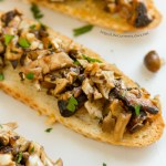 Mushroom Bruschetta made with oven roasted mushrooms is so easy to make and is sure to impress your guests at a party!